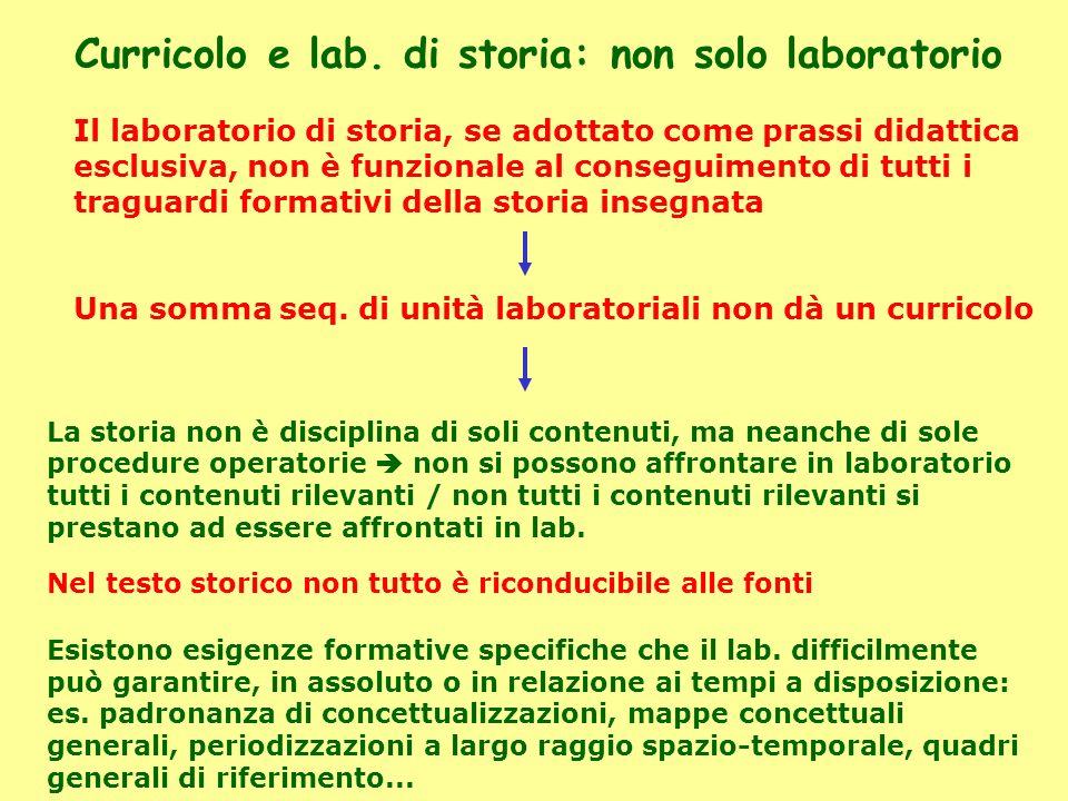Curricolo e lab. di storia: non solo laboratorio Il laboratorio di storia, se adottato come prassi didattica esclusiva, non è funzionale al conseguime