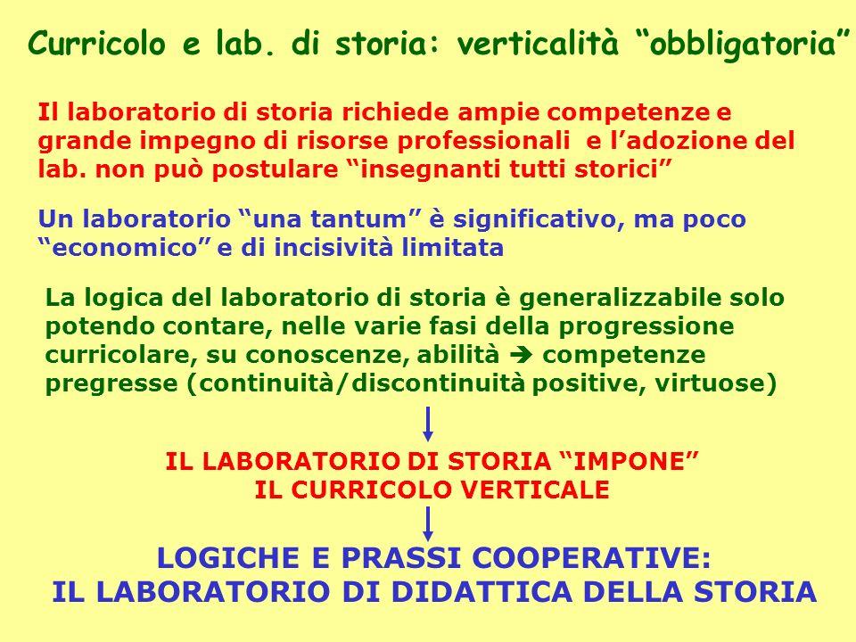 Curricolo e lab. di storia: verticalità obbligatoria Il laboratorio di storia richiede ampie competenze e grande impegno di risorse professionali e la