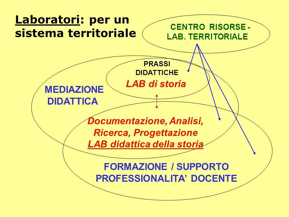 FORMAZIONE / SUPPORTO PROFESSIONALITA DOCENTE MEDIAZIONE DIDATTICA Laboratori: per un sistema territoriale PRASSI DIDATTICHE Documentazione, Analisi,