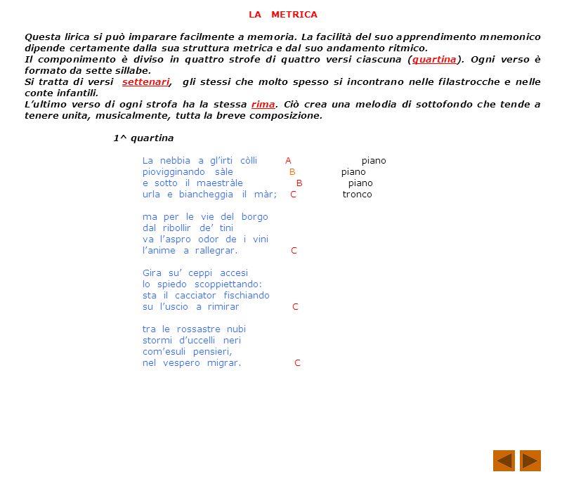 I SUONI 1^ Strofa ebbia / iggi / eggia sono onomatopeici: ci fanno sentire lacquerugiola che lievemente scende sul paesaggio e ci fanno vedere il mare frangersi sulla costa 2^ Strofa bor / ri / ir spro / or / ra / ar costituiscono la melodia della seconda quartina, che accentua il carattere musicale della lirica 3^ Strofa ppi / cce / spied / scoppie / fischia / uscio lonomatopea domina la terza strofa: i suoni servono a rappresentare i rumori che vengono dal focolare 4^ Strofa rossastre, nubi, stormi, uccelli, neri, esuli, vespero il colore caratterizza lultima strofa: gli aggettivi e le vocali scure o / u / indicano un sentimento di tristezza SAN MARTINO La nebbia a glirti colli piovigginando sale e sotto il maestrale urla e biancheggia il mar; ma per le vie del borgo dal ribollir de tini va laspro odor de i vini lanime a rallegrar.