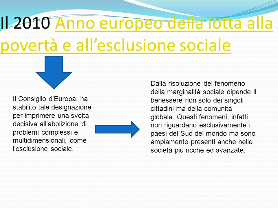 Con il termine esclusione sociale si definisce limpossibilità, lincapacità o la discriminazione di un individuo nella partecipazione a determinate attività sociali e personali.