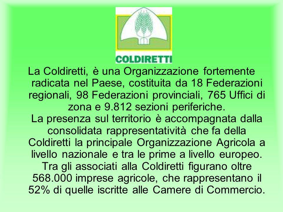 La Coldiretti, è una Organizzazione fortemente radicata nel Paese, costituita da 18 Federazioni regionali, 98 Federazioni provinciali, 765 Uffici di zona e 9.812 sezioni periferiche.