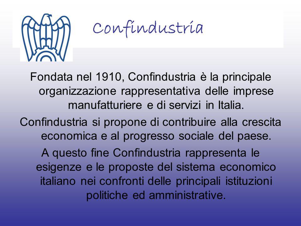 Confindustria Fondata nel 1910, Confindustria è la principale organizzazione rappresentativa delle imprese manufatturiere e di servizi in Italia.