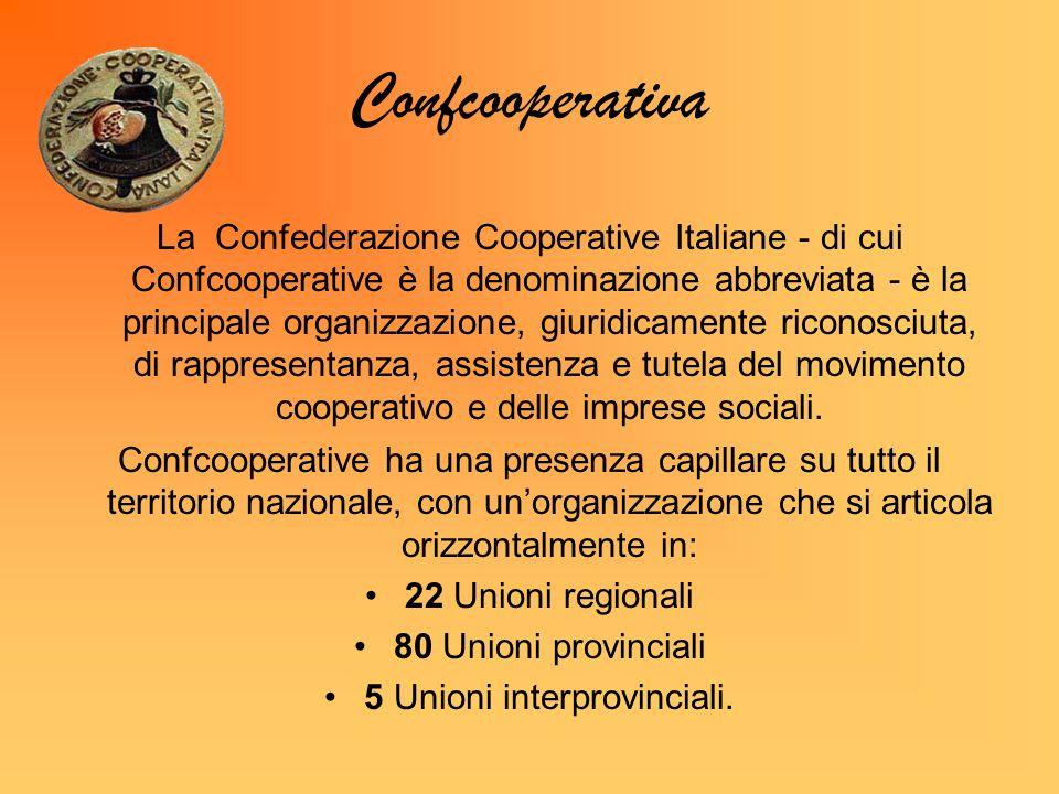 Confcooperativa La Confederazione Cooperative Italiane - di cui Confcooperative è la denominazione abbreviata - è la principale organizzazione, giuridicamente riconosciuta, di rappresentanza, assistenza e tutela del movimento cooperativo e delle imprese sociali.