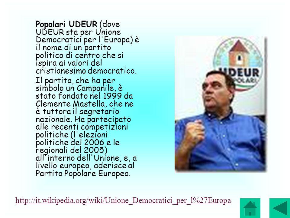 Popolari UDEUR (dove UDEUR sta per Unione Democratici per l'Europa) è il nome di un partito politico di centro che si ispira ai valori del cristianesi