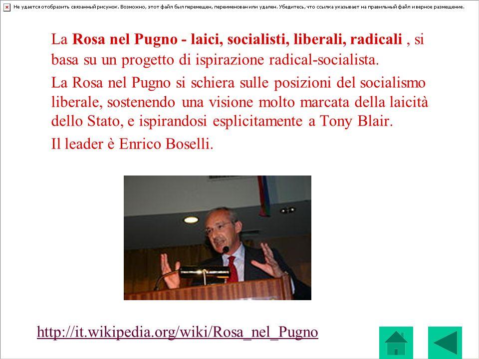 La Rosa nel Pugno - laici, socialisti, liberali, radicali, si basa su un progetto di ispirazione radical-socialista. La Rosa nel Pugno si schiera sull