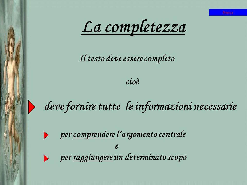La completezza Il testo deve essere completo cioè deve fornire tutte le informazioni necessarie per comprendere largomento centrale e per raggiungere