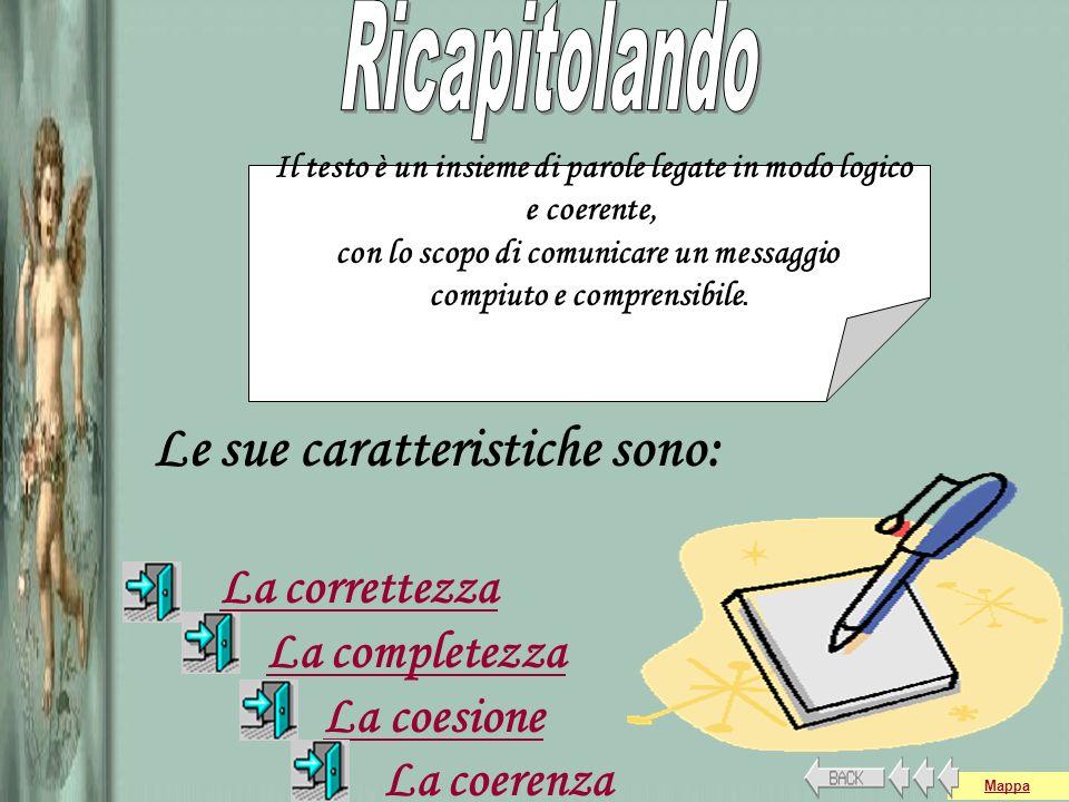 Le sue caratteristiche sono: La correttezza La completezza La coesione La coerenza Il testo è un insieme di parole legate in modo logico e coerente, c