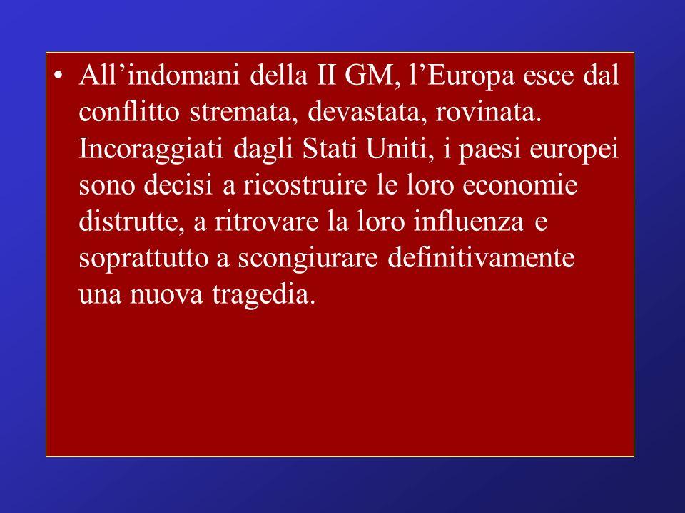 Allindomani della II GM, lEuropa esce dal conflitto stremata, devastata, rovinata. Incoraggiati dagli Stati Uniti, i paesi europei sono decisi a ricos