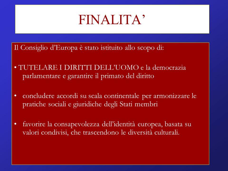 FINALITA Il Consiglio dEuropa è stato istituito allo scopo di: TUTELARE I DIRITTI DELLUOMO e la democrazia parlamentare e garantire il primato del dir