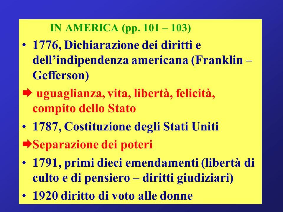 IN AMERICA (pp. 101 – 103) 1776, Dichiarazione dei diritti e dellindipendenza americana (Franklin – Gefferson) uguaglianza, vita, libertà, felicità, c