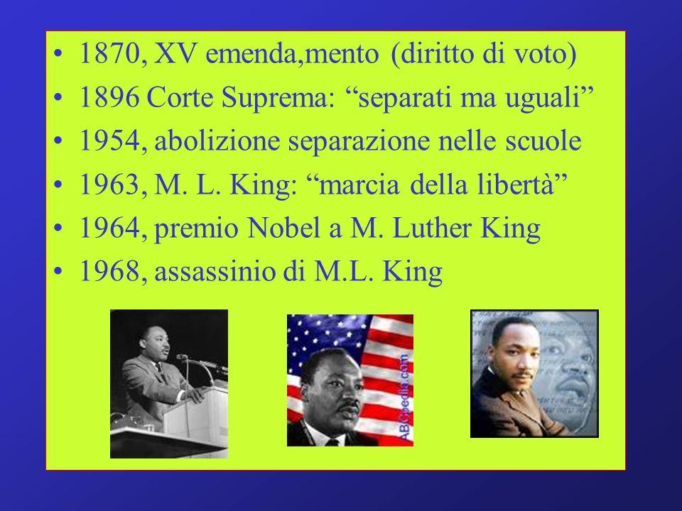 1870, XV emenda,mento (diritto di voto) 1896 Corte Suprema: separati ma uguali 1954, abolizione separazione nelle scuole 1963, M. L. King: marcia dell