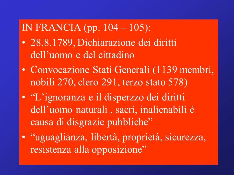IN FRANCIA (pp. 104 – 105): 28.8.1789, Dichiarazione dei diritti delluomo e del cittadino Convocazione Stati Generali (1139 membri, nobili 270, clero