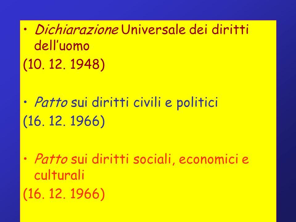 Dichiarazione Universale dei diritti delluomo (10. 12. 1948) Patto sui diritti civili e politici (16. 12. 1966) Patto sui diritti sociali, economici e
