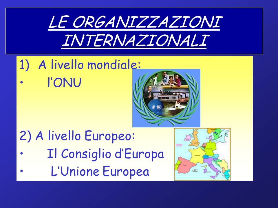 LE ORGANIZZAZIONI INTERNAZIONALI 1)A livello mondiale: lONU 2) A livello Europeo: Il Consiglio dEuropa LUnione Europea