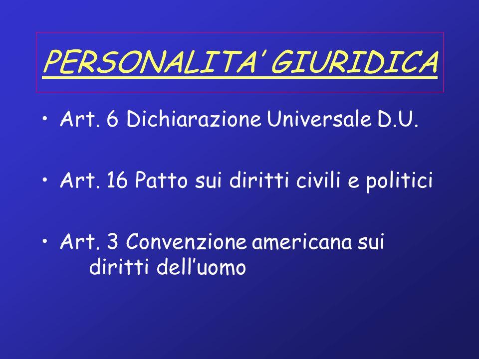 PERSONALITA GIURIDICA Art. 6 Dichiarazione Universale D.U. Art. 16 Patto sui diritti civili e politici Art. 3 Convenzione americana sui diritti delluo