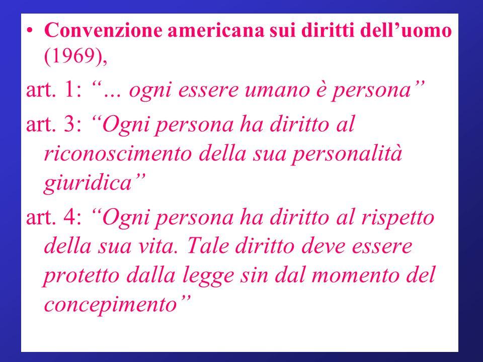 Convenzione americana sui diritti delluomo (1969), art. 1: … ogni essere umano è persona art. 3: Ogni persona ha diritto al riconoscimento della sua p