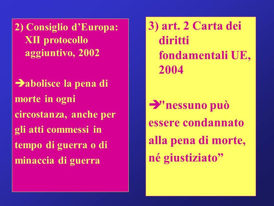 3) art. 2 Carta dei diritti fondamentali UE, 2004