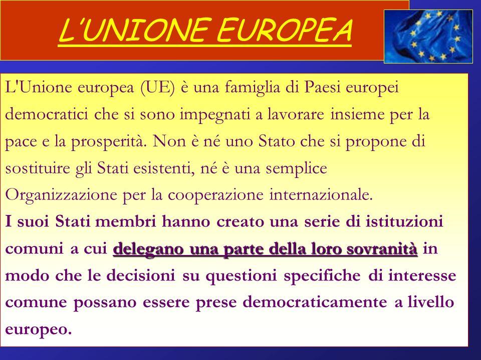 LUNIONE EUROPEA L'Unione europea (UE) è una famiglia di Paesi europei democratici che si sono impegnati a lavorare insieme per la pace e la prosperità