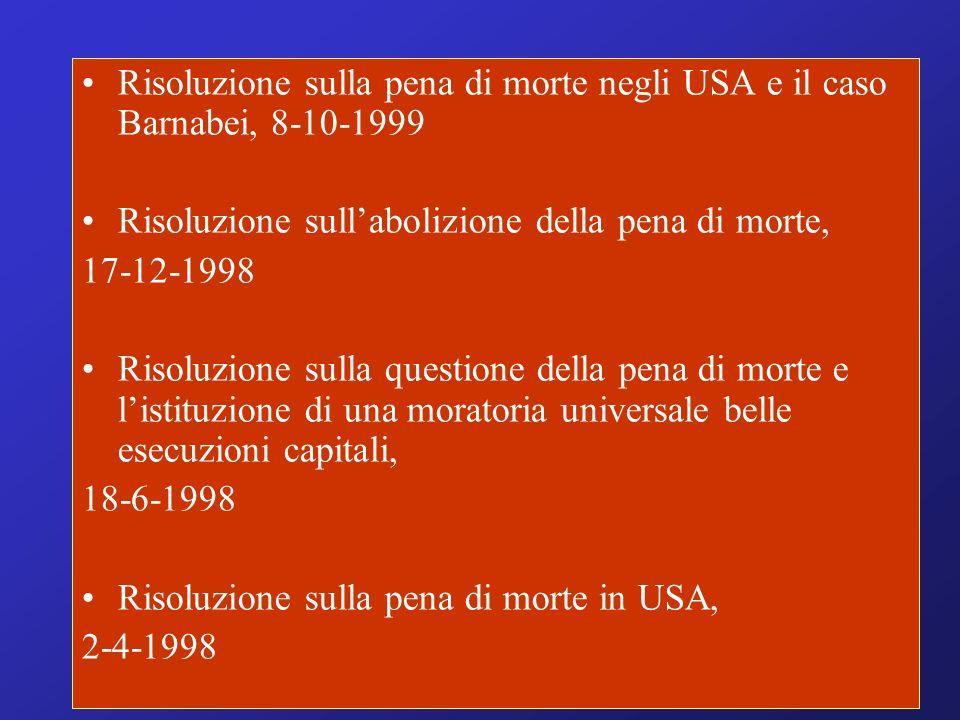 Risoluzione sulla pena di morte negli USA e il caso Barnabei, 8-10-1999 Risoluzione sullabolizione della pena di morte, 17-12-1998 Risoluzione sulla q