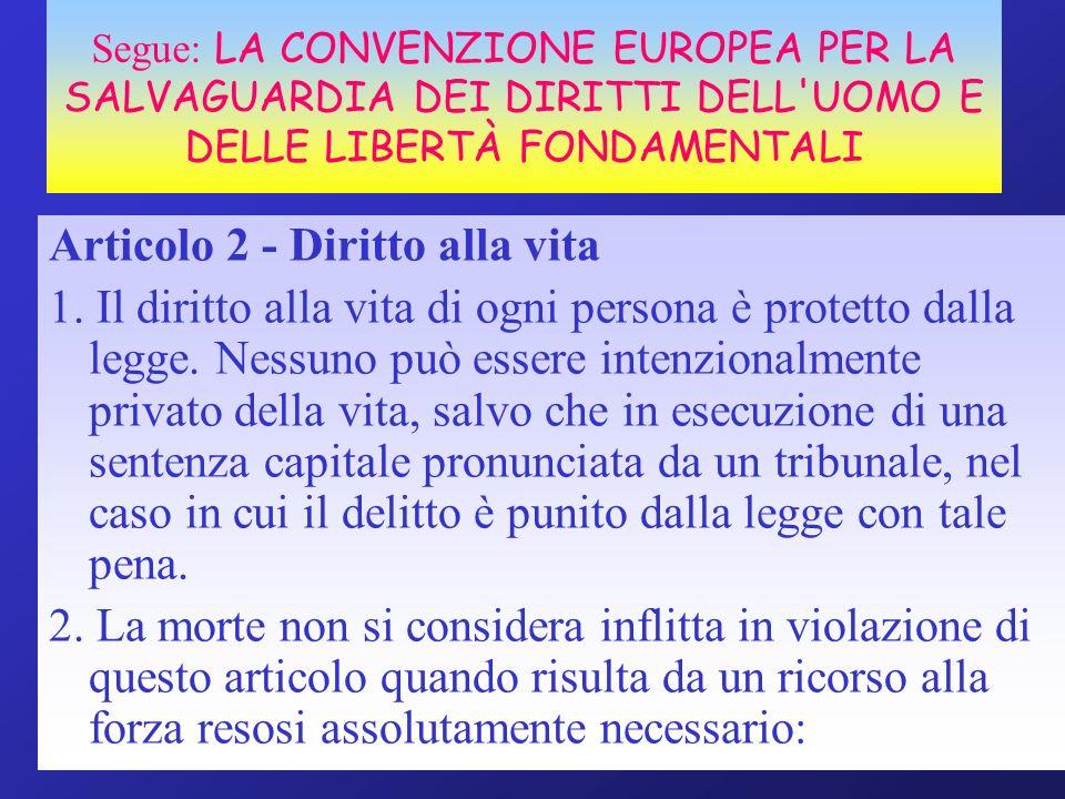 Segue: LA CONVENZIONE EUROPEA PER LA SALVAGUARDIA DEI DIRITTI DELL'UOMO E DELLE LIBERTÀ FONDAMENTALI Articolo 2 - Diritto alla vita 1. Il diritto alla