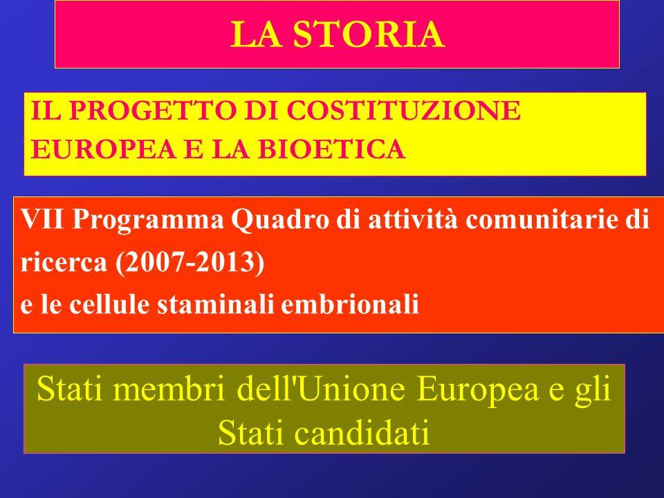 LA STORIA IL PROGETTO DI COSTITUZIONE EUROPEA E LA BIOETICA VII Programma Quadro di attività comunitarie di ricerca (2007-2013) e le cellule staminali