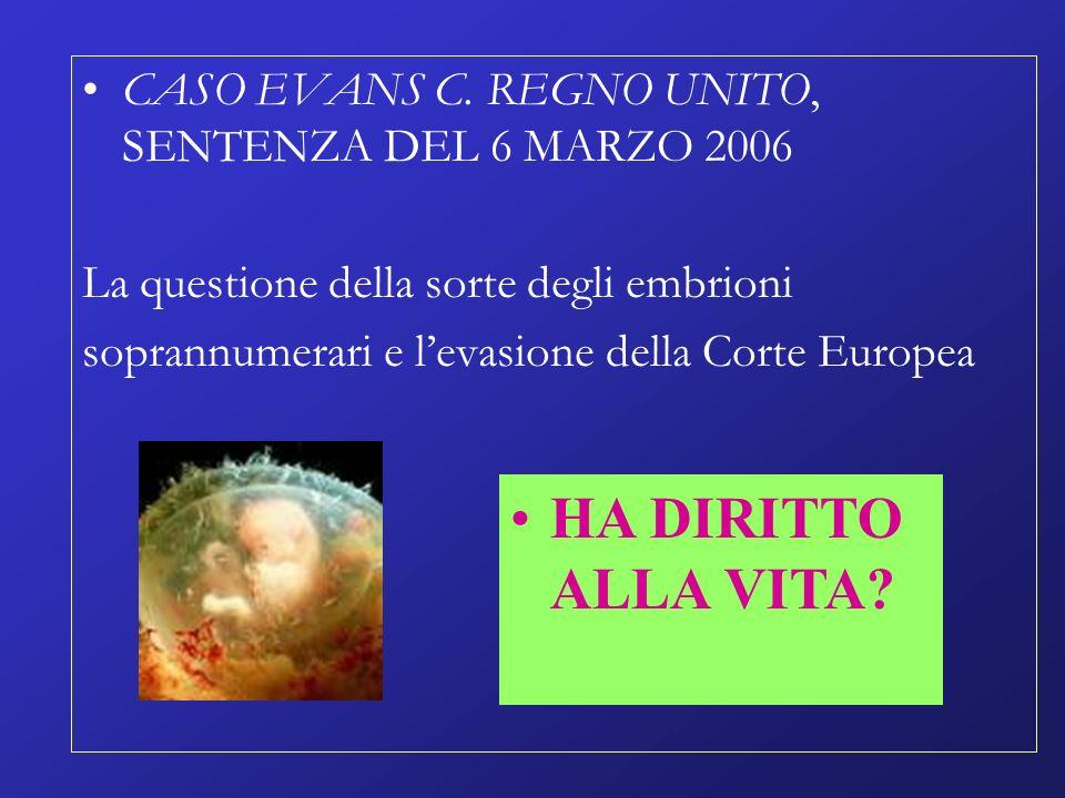 CASO EVANS C. REGNO UNITO, SENTENZA DEL 6 MARZO 2006 La questione della sorte degli embrioni soprannumerari e levasione della Corte Europea HA DIRITTO
