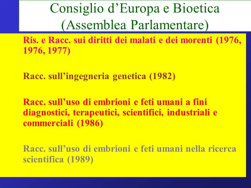 Consiglio dEuropa e Bioetica (Assemblea Parlamentare) –Ris. e Racc. sui diritti dei malati e dei morenti (1976, 1976, 1977) –Racc. sullingegneria gene