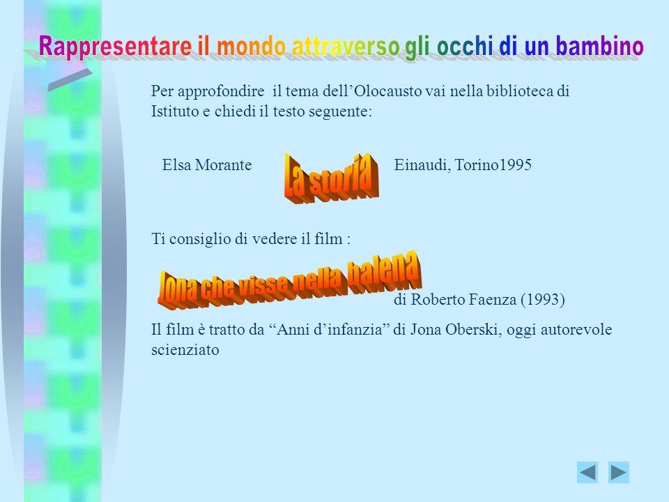 Per approfondire il tema dellOlocausto vai nella biblioteca di Istituto e chiedi il testo seguente: Elsa Morante Einaudi, Torino1995 Ti consiglio di v