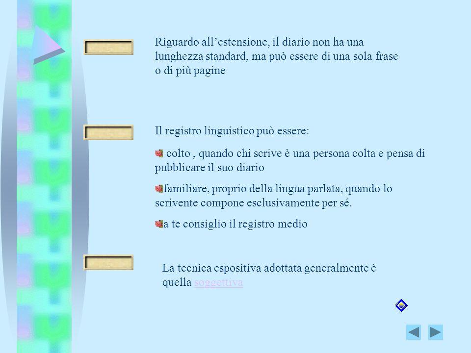 Riguardo allestensione, il diario non ha una lunghezza standard, ma può essere di una sola frase o di più pagine Il registro linguistico può essere: c