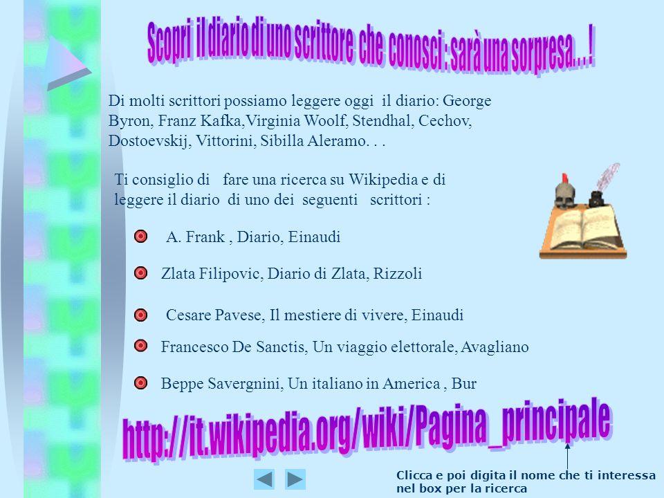 Ti consiglio di fare una ricerca su Wikipedia e di leggere il diario di uno dei seguenti scrittori : Cesare Pavese, Il mestiere di vivere, Einaudi Di
