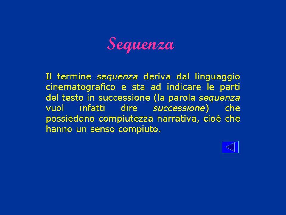 Il termine sequenza deriva dal linguaggio cinematografico e sta ad indicare le parti del testo in successione (la parola sequenza vuol infatti dire su