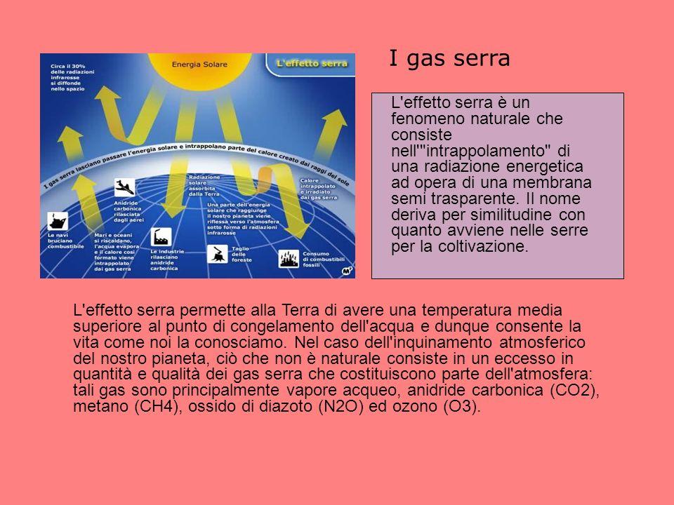 I gas serra L effetto serra permette alla Terra di avere una temperatura media superiore al punto di congelamento dell acqua e dunque consente la vita come noi la conosciamo.