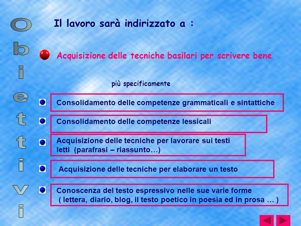 Il lavoro sarà indirizzato a : Acquisizione delle tecniche basilari per scrivere bene più specificamente Consolidamento delle competenze grammaticali