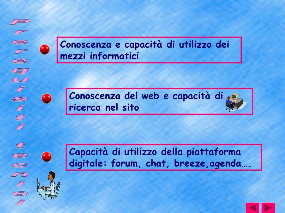 Conoscenza e capacità di utilizzo dei mezzi informatici Conoscenza del web e capacità di ricerca nel sito Capacità di utilizzo della piattaforma digit