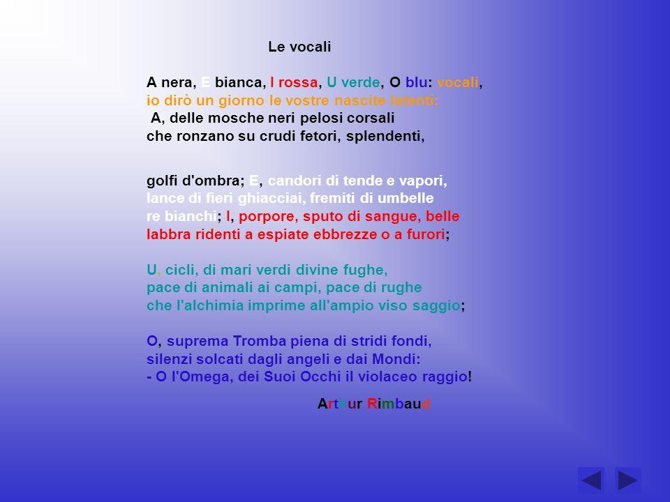 Le vocali A nera, E bianca, I rossa, U verde, O blu: vocali, io dirò un giorno le vostre nascite latenti: A, delle mosche neri pelosi corsali che ronz
