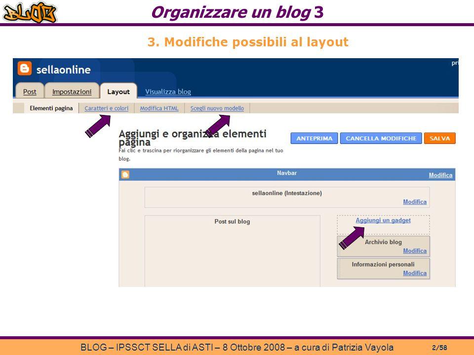 Organizzare un blog 3 BLOG – IPSSCT SELLA di ASTI – 8 Ottobre 2008 – a cura di Patrizia Vayola 2/58 3.