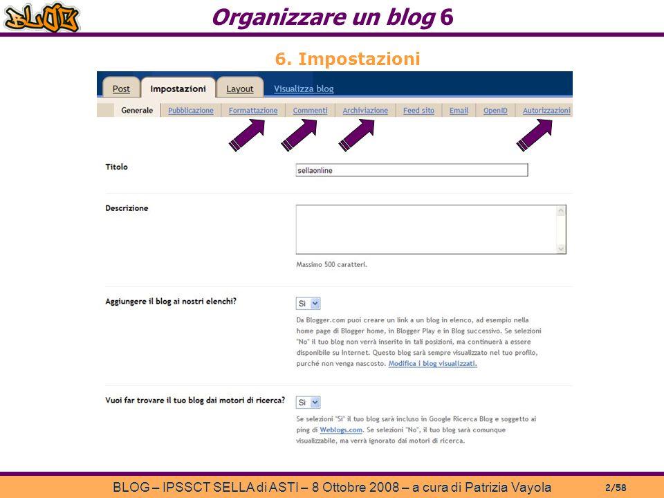 Organizzare un blog 6 BLOG – IPSSCT SELLA di ASTI – 8 Ottobre 2008 – a cura di Patrizia Vayola 2/58 6.