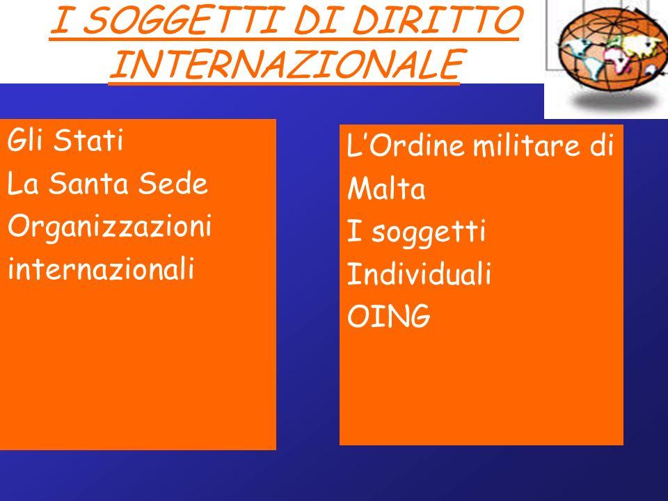 I SOGGETTI DI DIRITTO INTERNAZIONALE Gli Stati La Santa Sede Organizzazioni internazionali LOrdine militare di Malta I soggetti Individuali OING