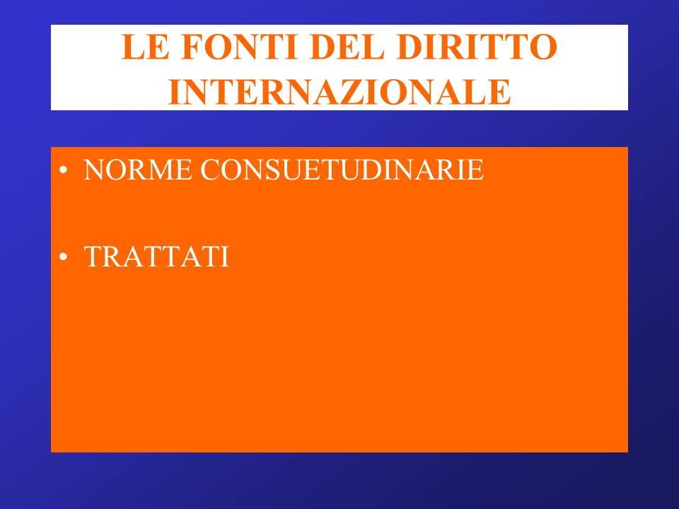 LE FONTI DEL DIRITTO INTERNAZIONALE NORME CONSUETUDINARIE TRATTATI