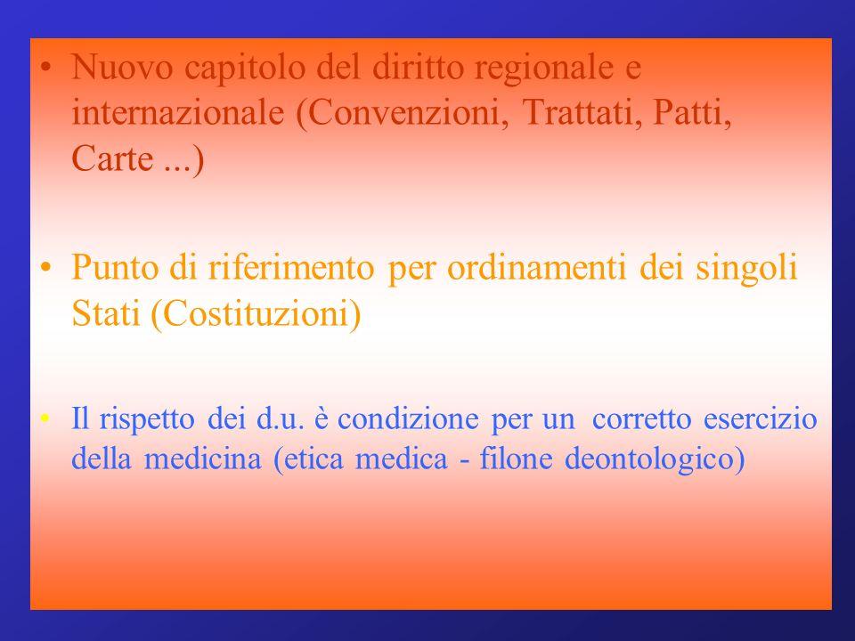 Nuovo capitolo del diritto regionale e internazionale (Convenzioni, Trattati, Patti, Carte...) Punto di riferimento per ordinamenti dei singoli Stati (Costituzioni) Il rispetto dei d.u.
