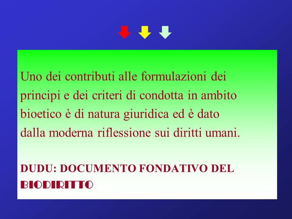 Uno dei contributi alle formulazioni dei principi e dei criteri di condotta in ambito bioetico è di natura giuridica ed è dato dalla moderna riflessione sui diritti umani.