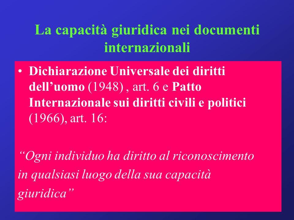La capacità giuridica nei documenti internazionali Dichiarazione Universale dei diritti delluomo (1948), art.
