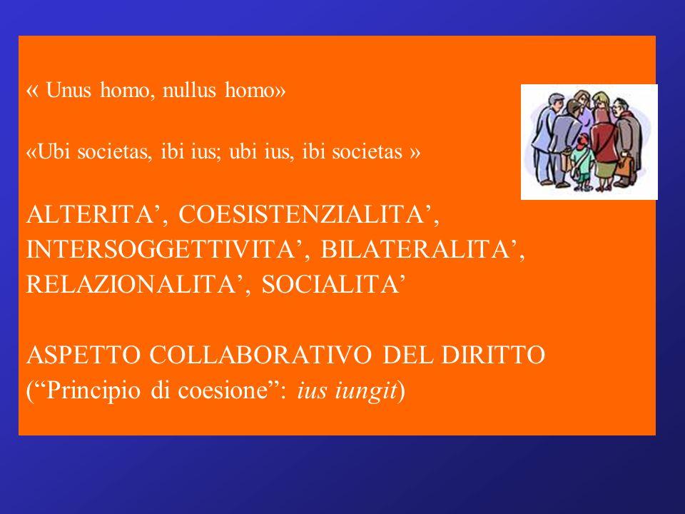 « Unus homo, nullus homo» «Ubi societas, ibi ius; ubi ius, ibi societas » ALTERITA, COESISTENZIALITA, INTERSOGGETTIVITA, BILATERALITA, RELAZIONALITA, SOCIALITA ASPETTO COLLABORATIVO DEL DIRITTO (Principio di coesione: ius iungit)