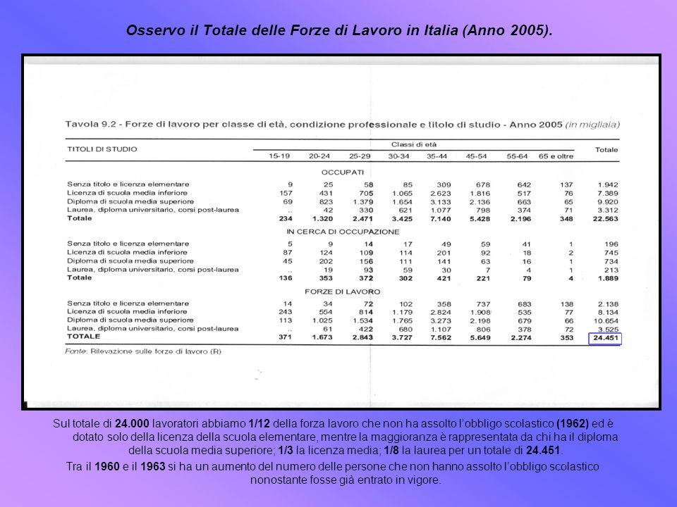 Osservo il Totale delle Forze di Lavoro in Italia (Anno 2005). Sul totale di 24.000 lavoratori abbiamo 1/12 della forza lavoro che non ha assolto lobb