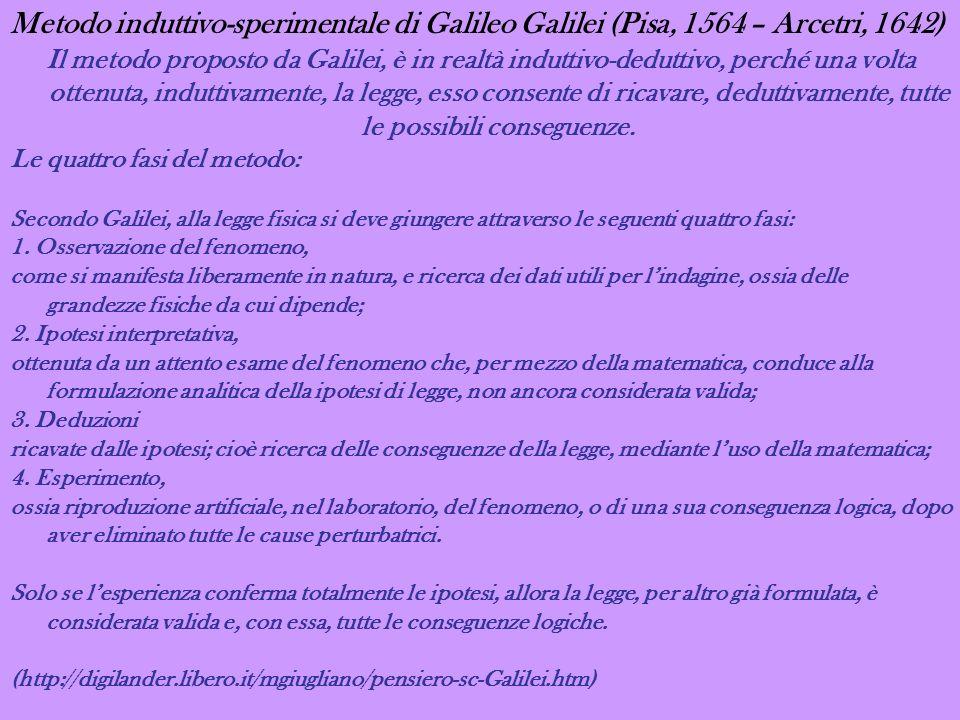 Metodo induttivo-sperimentale di Galileo Galilei (Pisa, 1564 – Arcetri, 1642) Il metodo proposto da Galilei, è in realtà induttivo-deduttivo, perché u