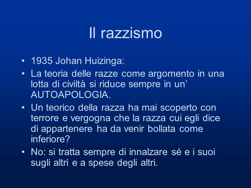 Il razzismo 1935 Johan Huizinga: La teoria delle razze come argomento in una lotta di civiltà si riduce sempre in un AUTOAPOLOGIA. Un teorico della ra
