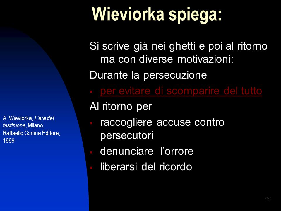 11 Wieviorka spiega: Si scrive già nei ghetti e poi al ritorno ma con diverse motivazioni: Durante la persecuzione per evitare di scomparire del tutto