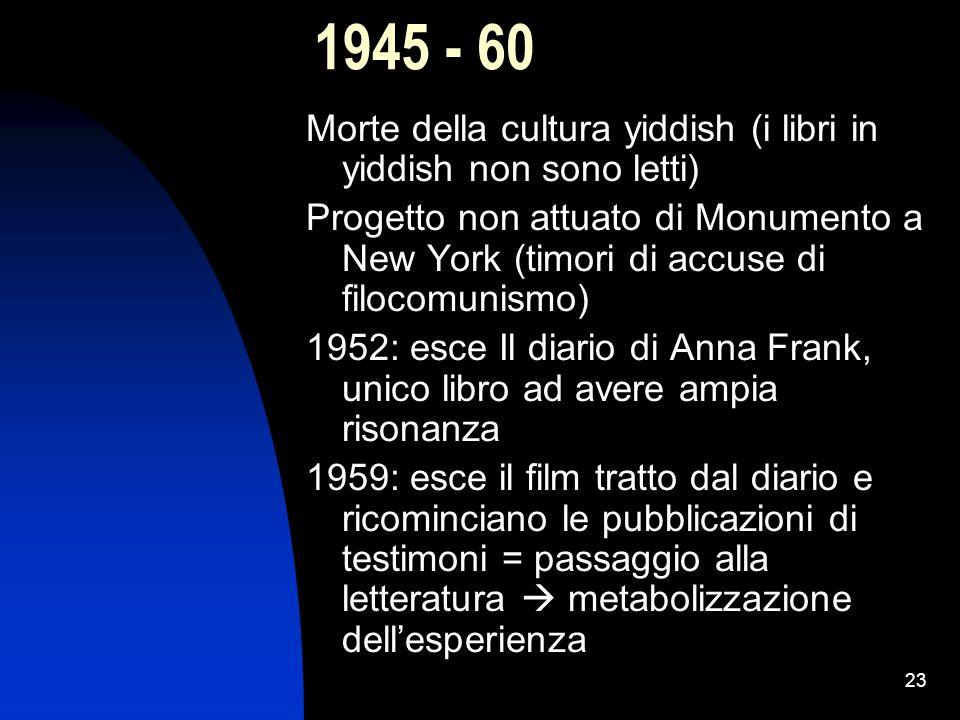 23 1945 - 60 Morte della cultura yiddish (i libri in yiddish non sono letti) Progetto non attuato di Monumento a New York (timori di accuse di filocom