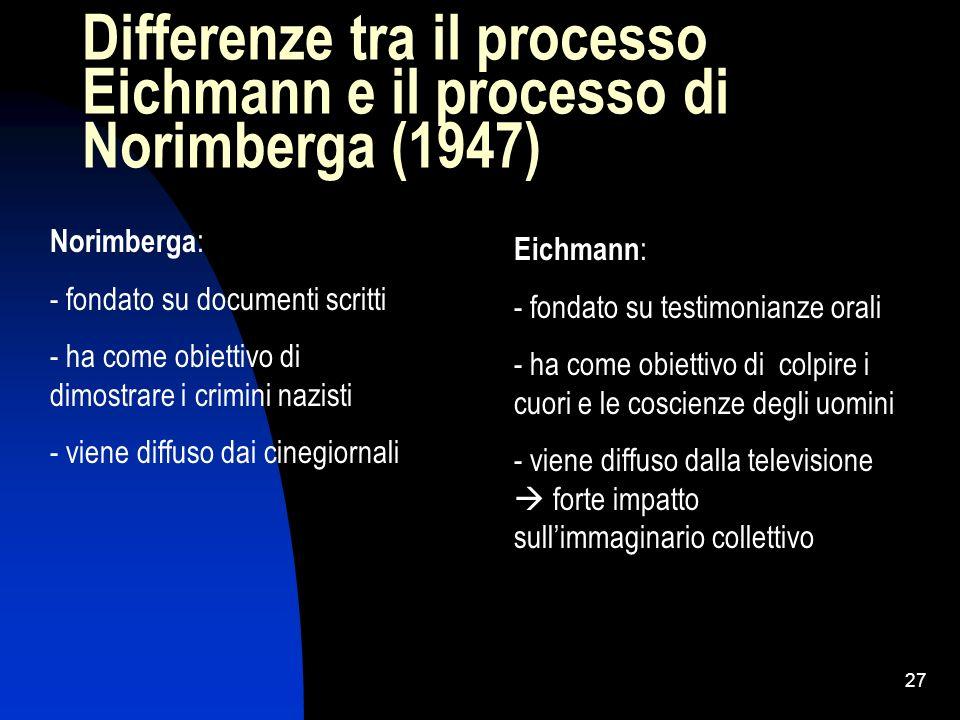 27 Differenze tra il processo Eichmann e il processo di Norimberga (1947) Norimberga : - fondato su documenti scritti - ha come obiettivo di dimostrar
